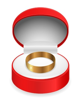 Gift box with gold ring  icon