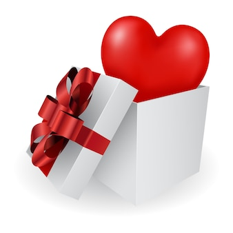 Gift box with heart 3d icon