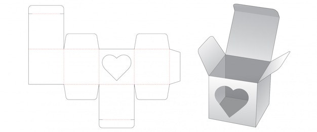 Gift box with heart shaped window die cut template design