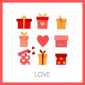 Подарочная коробка с сердечками. поздравительная романтическая открытка для влюбленных.