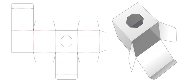 Gift box with octagonal shaped window die cut template design