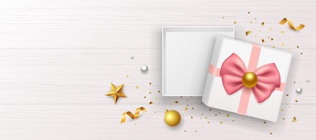 핑크 나비 리본 선물 상자