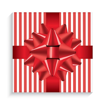 붉은 활과 리본이 달린 선물 상자. 평면도. 벡터 일러스트 레이 션.