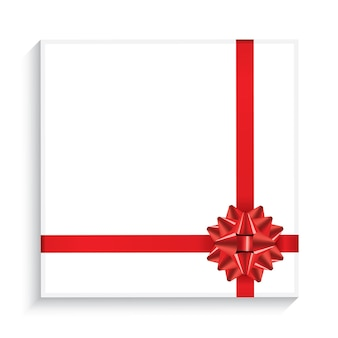 붉은 나비, 리본 및 복사 공간이 있는 선물 상자. 평면도. 벡터 일러스트 레이 션.