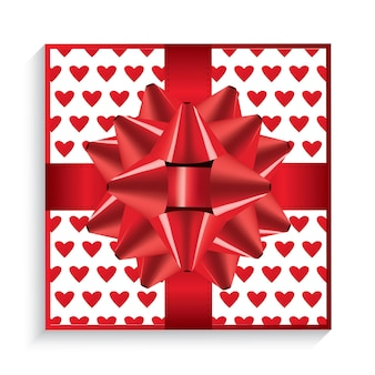 Gift box with red bow, ribbon and hearts. top view. vector illustration.