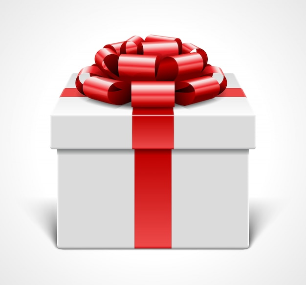 Gift box with red bow and ribbon isolated on white   illustration