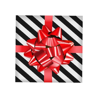 Gift box with red bow and ribbon