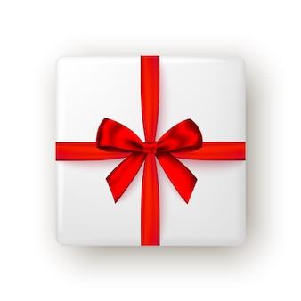 빨간 리본과 활 상단 보기가 있는 선물 상자