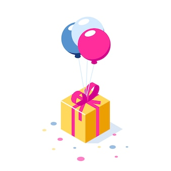 Gift box with ribbon on ballons
