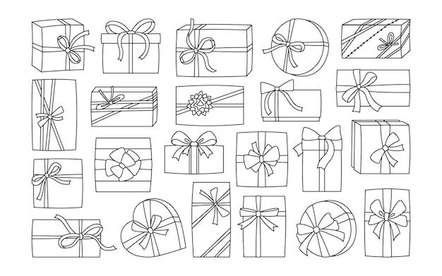 Подарочная коробка с лентой на день рождения с черной линией символ подарка-сюрприза на годовщину праздника