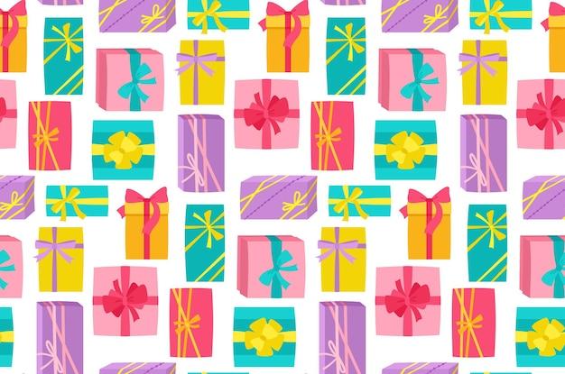 Подарочная коробка с лентой на день рождения бесшовный фон