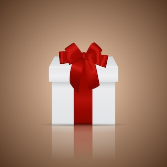 Gift box with ribbon and bow.  illustration