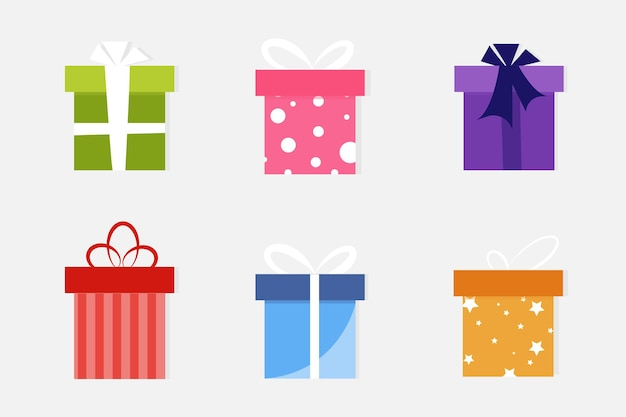 Gift box with ribbon flat design banners graphics or website layout template red pink blue