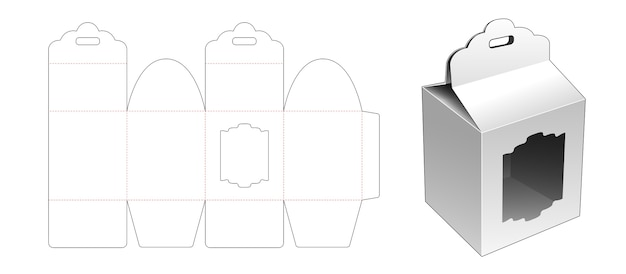 Gift box with ribbon hole and window die cut template