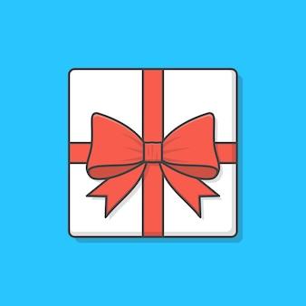 리본 아이콘 일러스트와 함께 선물 상자입니다. 선물은 상위 뷰를 제공합니다. 선물 상자 평면 아이콘