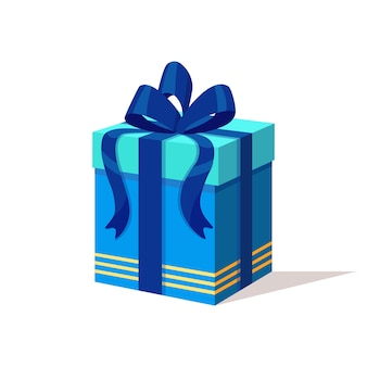 Подарочная коробка с лентой, изолированные на белом фоне