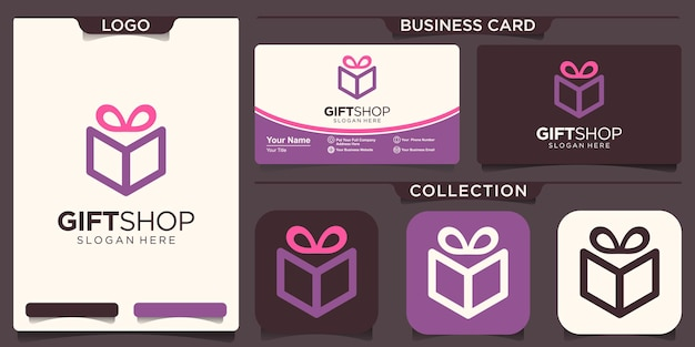 Gift box with ribbon line icon, outline vector sign, linear style pictogram isolated on pink.