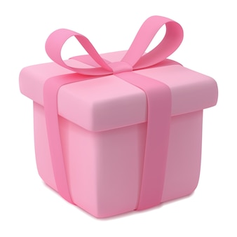 Gift box with ribbon pink present