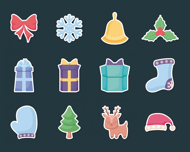 Gift box with set icons of christmas