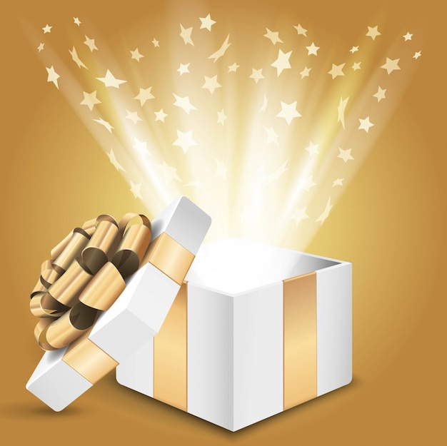 Подарочная коробка с сияющим светом и звездами. иллюстрация