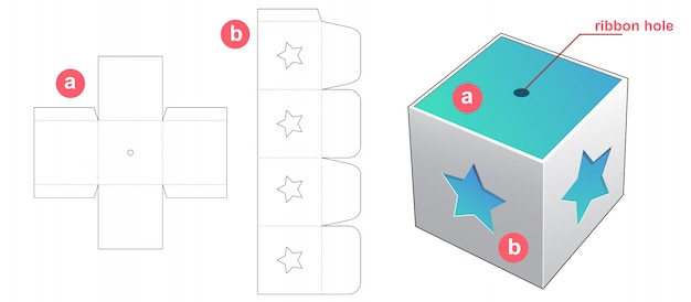 Gift box with star window cover die cut template design