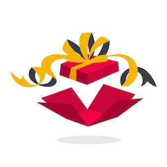 보너스의 은유로 내부에 깜짝 선물 상자. 오픈 패키지 개념. 승진의 아이디어. 삽화