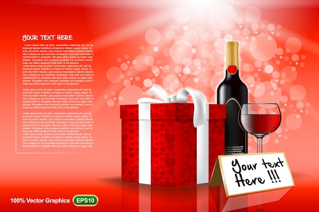 Gift box with wine bottle and glass