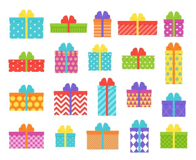 ギフト用の箱。フラットなデザインで分離された弓とリボンで包まれたプレゼント。かわいいカラフルなセット。