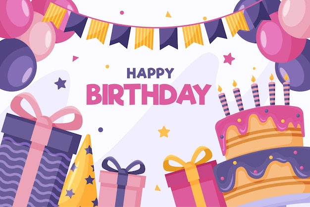 Подарочные коробки и вкусный торт с днем рождения