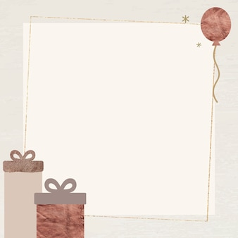 Gift boxes and ballon with shimmering star lights frame
