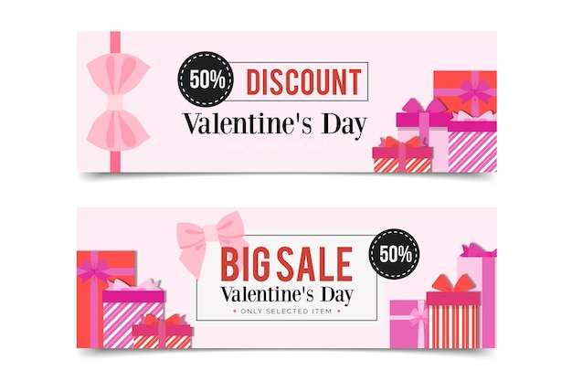 Gift boxes banners for valentine's day