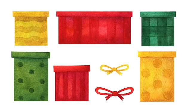 Gift boxes and bows in red; green and yellow. set of holiday clipar. packaging decor for birthday; new year; christmas; name; anniversary