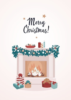 Gift boxes by fireplace with candles and text merry christmas