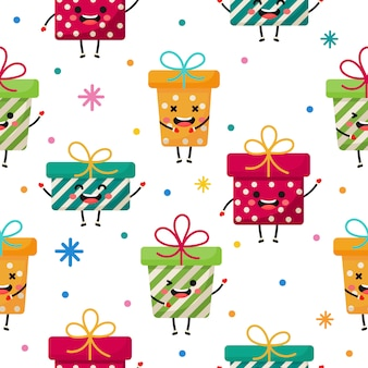 Gift boxes characters seamless pattern on white background.