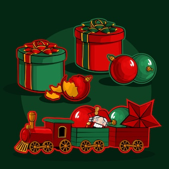 Gift boxes, christmas balls and a toy train with a nutcracker