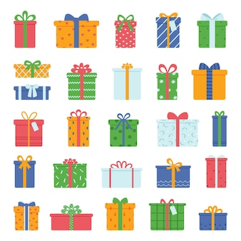 Gift boxes collection isolated on white background vector illustration in flat style