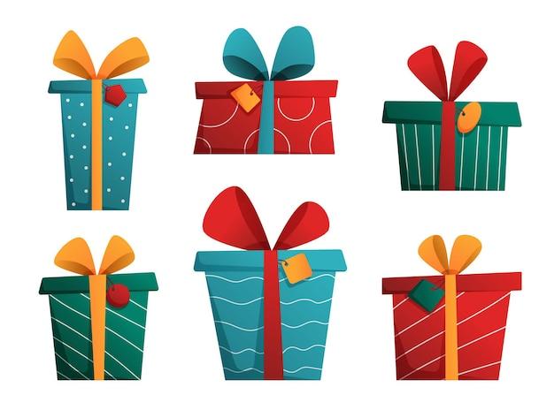 Коллекция подарочных коробок с бирками на рождество, день рождения, новогодний праздник