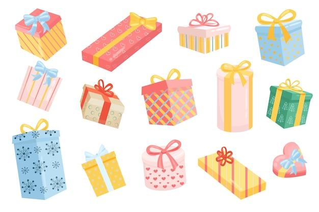 Подарочные коробки милые элементы изолированный набор