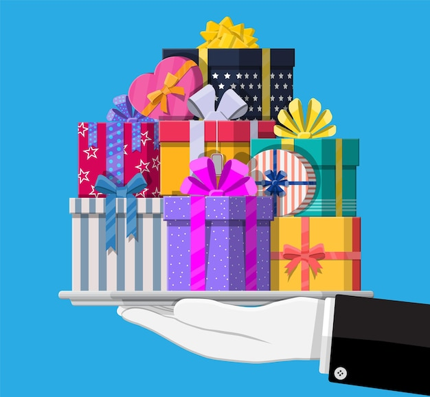 Gift boxes in hand. colorful wrapped. sale, shopping. present boxes different sizes with bows and ribbons. collection for birthday and holiday. vector illustration in flat style