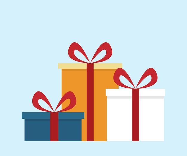 평면 스타일, 간단한 벡터 일러스트 레이 션, 크리스마스 선물, 생일 파티 깜짝 선물 상자
