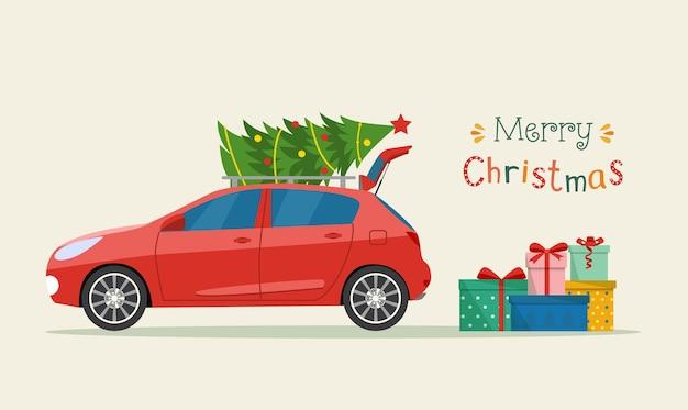 車のトランクの横にあるギフトボックス。メリークリスマスの定型化されたタイポグラフィ。ベクトルフラットスタイルイラスト