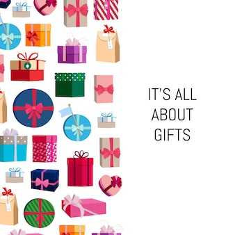 Gift boxes or packages with place for text