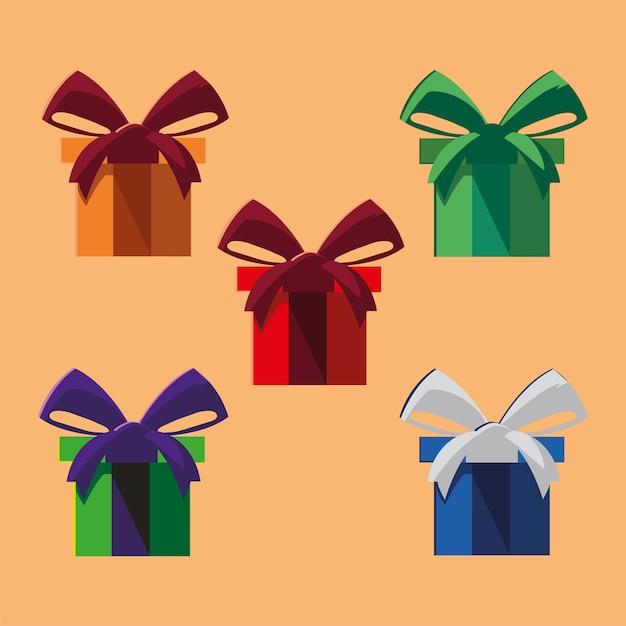 선물 상자 파티 장식 및 축하 아이콘 그림