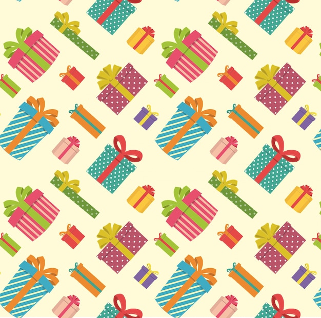 Gift boxes pattern on a light yellow background