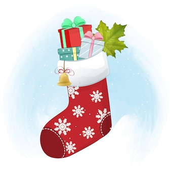 Gift boxes in the red sock christmas season illustration