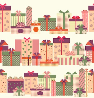 Gift boxes seamless horizontal border pattern. wrapped presents or gift boxes.