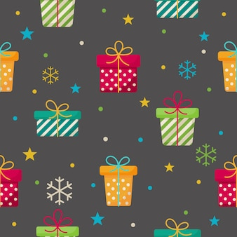 Gift boxes seamless pattern on gray .