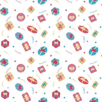 Подарочные коробки бесшовные модели изолированных векторные иллюстрации праздник фон