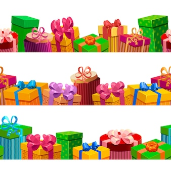 Gift boxes seamless patterns set