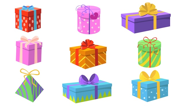 ギフトボックスセット。カラフルなラップ、リボン、弓のグリーティングカードの要素が分離されたクリスマスや誕生日プレゼント。休日やサプライズパーティーのコンセプトのフラットベクトルイラスト